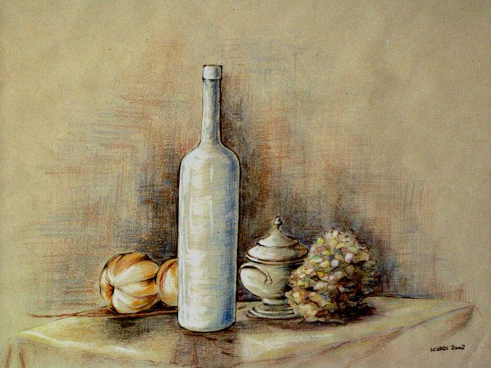 La bottiglia azzurra - Disegno 49x34 (2002)