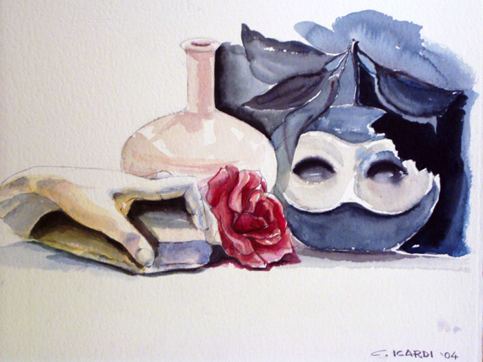 Mela mascherata - Acquerello 40x60 (2003)