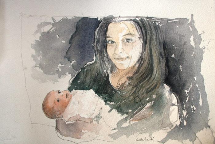Maternità - acquerello 60x40 2016